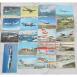 Soubor pohlednic dopravních letadel 19 kusů